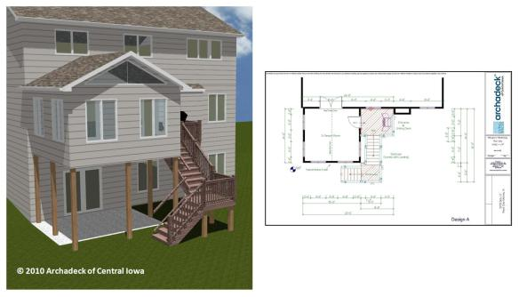 Render and blueprint of sunroom